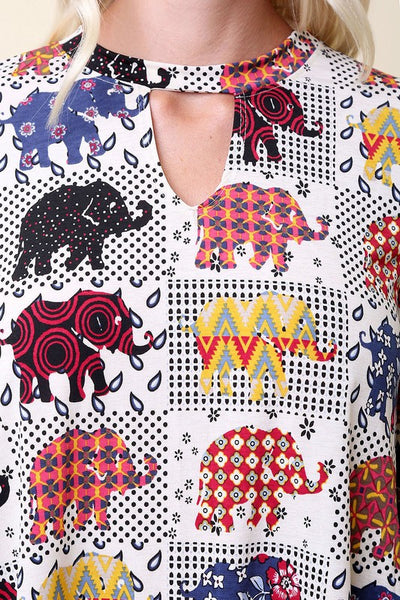 2018 Fall Women's Elephant Print Top - JEN'S KIDS BOUTIQUE