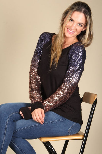 New Christmas Women's Rainbow Sequin Long Sleeve Top - JEN'S KIDS BOUTIQUE
