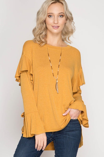 Fall Women's Long Bell Sleeve Top With Ruffled Armholes And Sleeve Ties - JEN'S KIDS BOUTIQUE