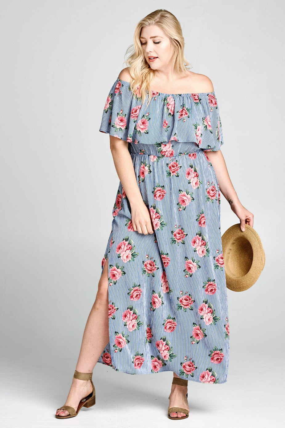2019 Spring Plus Size Off-Shoulder Floral Striped Maxi Dress
