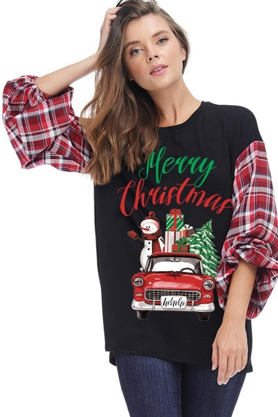 2018 Christmas Women's Merry Christmas Graphic Top With Plaid Sleeves - JEN'S KIDS BOUTIQUE