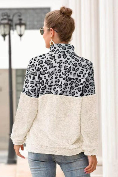 New Fall Leopard Color Block Fleece Top With Zipper Front White - JEN'S KIDS BOUTIQUE