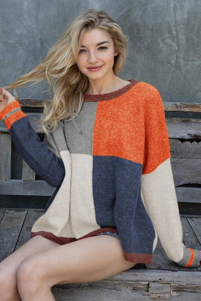 New Fall Women's Multi Color Block Thick Knit Oversize Sweater - JEN'S KIDS BOUTIQUE