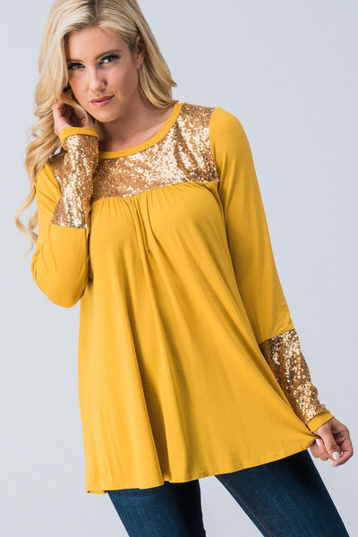 2018 HOLIDAY SEQUINS DETAIL LONG SLEEVE TOP MUSTARD