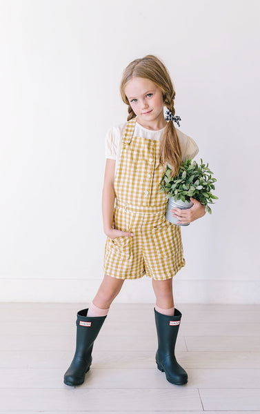 2019 Summer Girls Cotton Gingham Button Front Pocket Overalls - JEN'S KIDS BOUTIQUE