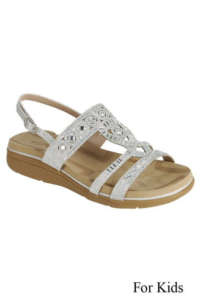 Spring & Summer Girls Sparkle Silver Jewels Stunning Sandals - JEN'S KIDS BOUTIQUE