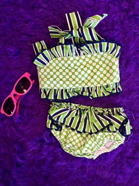 Banana Split Summer Infant Two Piece Green/ Sun Suit - JEN'S KIDS BOUTIQUE