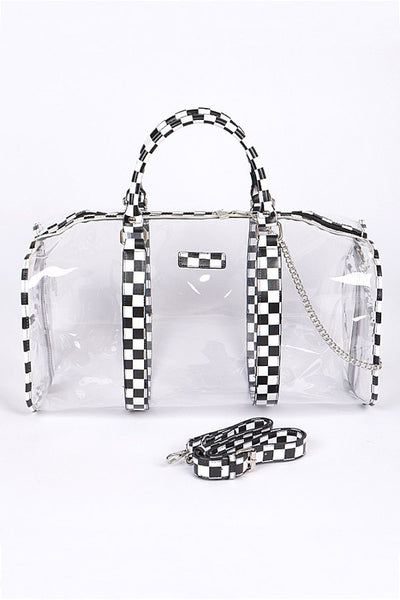 Fall Back To School Clear Bag With Chess Print Details - JEN'S KIDS BOUTIQUE