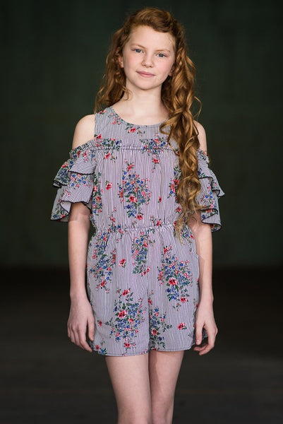 2019 Spring & Summer Truly Me Girls' Long Sleeve Romper With Ruffles Pre-Order - JEN'S KIDS BOUTIQUE
