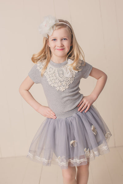 MAELI ROSE Spring Ribbon Skirt Gray - JEN'S KIDS BOUTIQUE