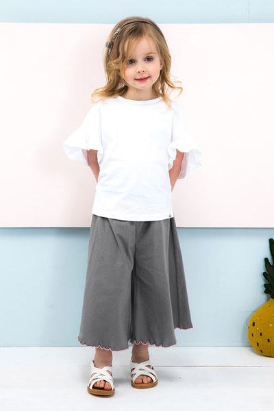 2019 Summer Girls Cotton Short Sleeve Ruffled Sleeve Edge Wide Leg Shorts - JEN'S KIDS BOUTIQUE
