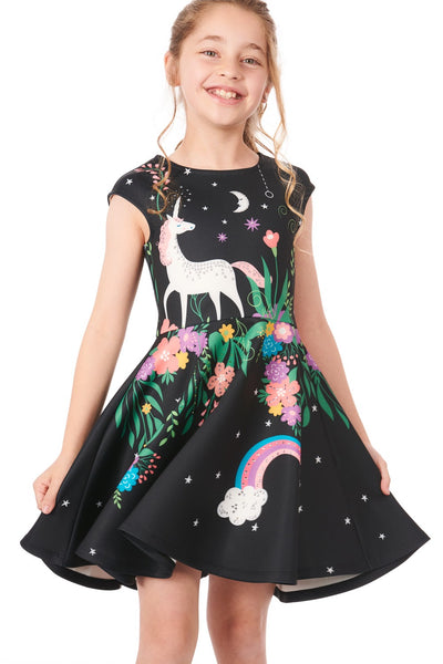 Summer Truly Me Girls' Unicorn Theme Skater Dress with Stonework - JEN'S KIDS BOUTIQUE