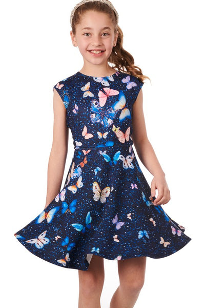 2019 Summer Truly Me Girls' Butterfly Print Skater Dress With Stonework. - JEN'S KIDS BOUTIQUE