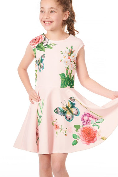 2019 Summer Truly Me Girls' Embellished Skater Dress With Floral Print. - JEN'S KIDS BOUTIQUE