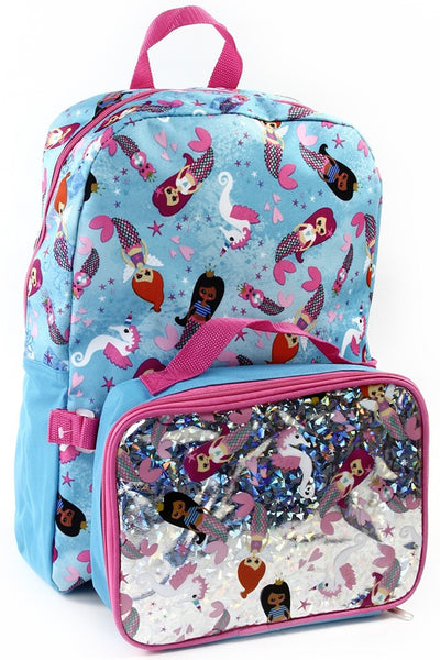 Fall Back To School  Mermaid 16 in Backpack With Lunch Kit - JEN'S KIDS BOUTIQUE