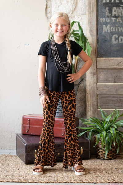 Fall Back To School Amber Leopard Bell Bottom Pants