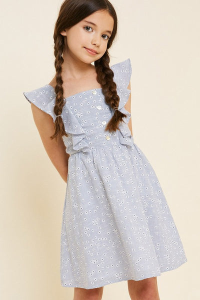 2019 Summer Girls Embroidered Stripe Floral Ruffle Dress - JEN'S KIDS BOUTIQUE