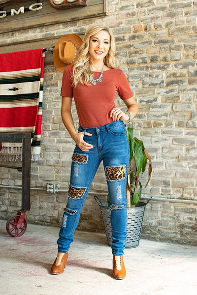 Fall Women's Leopard Patch Skinny Jeans - JEN'S KIDS BOUTIQUE