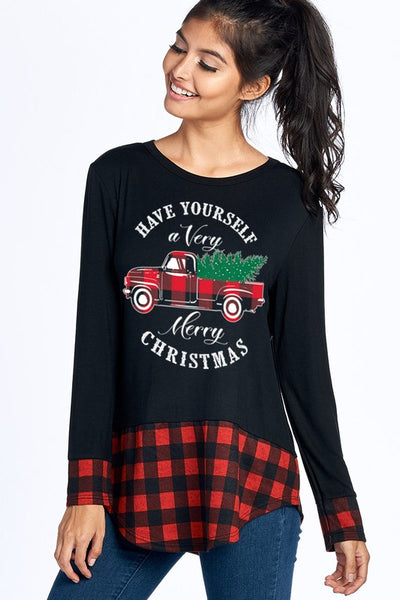 Mommy & Me Women's Plaid Merry Christmas Long Sleeve Shirts CH - JEN'S KIDS BOUTIQUE