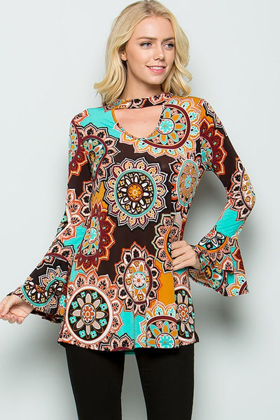 Medallion Print Long Ruffle W Sleeve Tunic - JEN'S KIDS BOUTIQUE