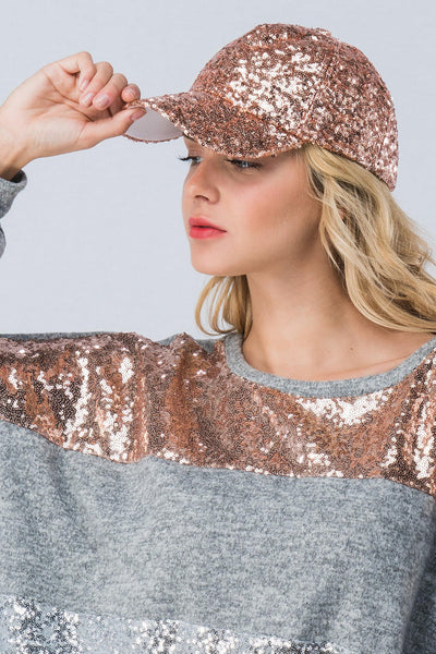2018 HOLIDAY SEQUINS CAP ROSE GOLD