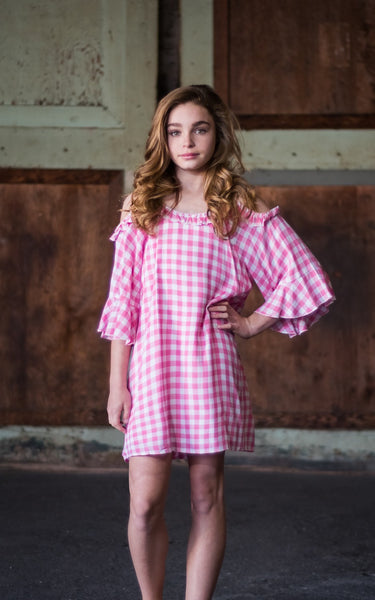 2019 Spring & Summer Truly Me Pink Gingham Girls' Cold Shoulder A-Line Dress Pre-Order - JEN'S KIDS BOUTIQUE