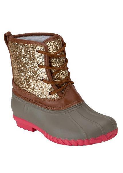Fall GOLD GLITTER LACE UP TONE TONE KIDS DUCK BOOT - JEN'S KIDS BOUTIQUE