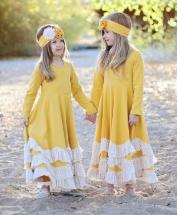 2018 Fall Serendipity Mustard Maxi Twirl Dress With Ruffles - JEN'S KIDS BOUTIQUE