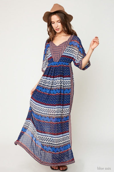 Hayden Fall Women's Blue Printed Printed Maxi Dress - JEN'S KIDS BOUTIQUE