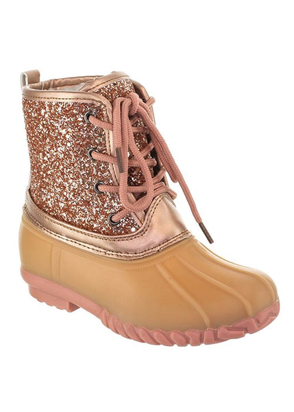 FALL ROSE TWO TONE LACE UP KIDS DUCK BOOT - JEN'S KIDS BOUTIQUE