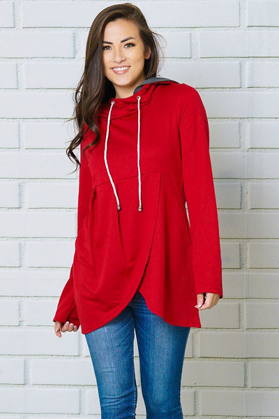 2018 Fall Women's Wine Color Hooded Top With Side Hidden Pockets - JEN'S KIDS BOUTIQUE