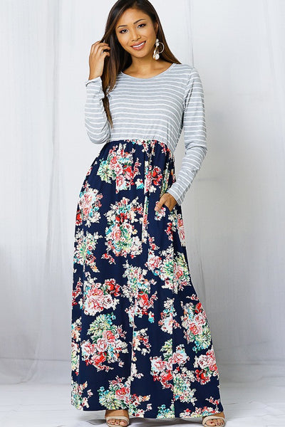 Fall Navy & Flower Maxi Dress With Hidden Pockets - JEN'S KIDS BOUTIQUE