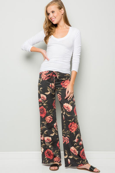 Women's Drawstring Floral Pants - JEN'S KIDS BOUTIQUE