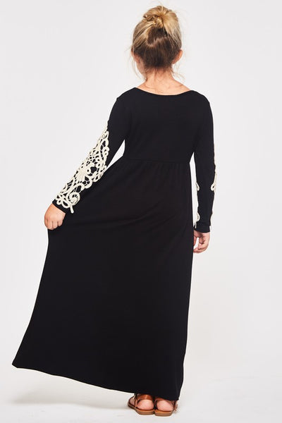 2018 Fall Girls Black Crochet Maxi Dress - JEN'S KIDS BOUTIQUE