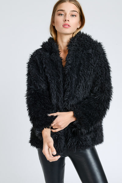 2018 Fall Fur Fuzzy Hooded Jacket Black - JEN'S KIDS BOUTIQUE