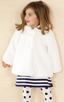 Le Top Girls White Faux Fur Jacket - JEN'S KIDS BOUTIQUE
