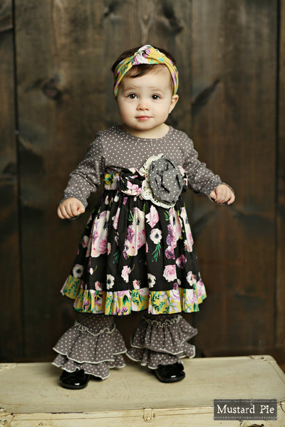 2018 Fall Mustard Pie English Blue Olivia Dress Set - JEN'S KIDS BOUTIQUE
