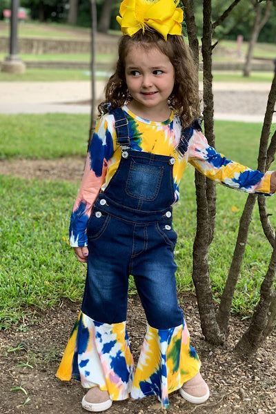 NEW FALL TIE DYE BLUE & YELLOW TOP WITH MATCHING OVERALLS. - JEN'S KIDS BOUTIQUE