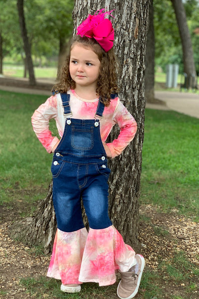 NEW FALL TIE DYE PINK TOP WITH MATCHING OVERALLS. - JEN'S KIDS BOUTIQUE