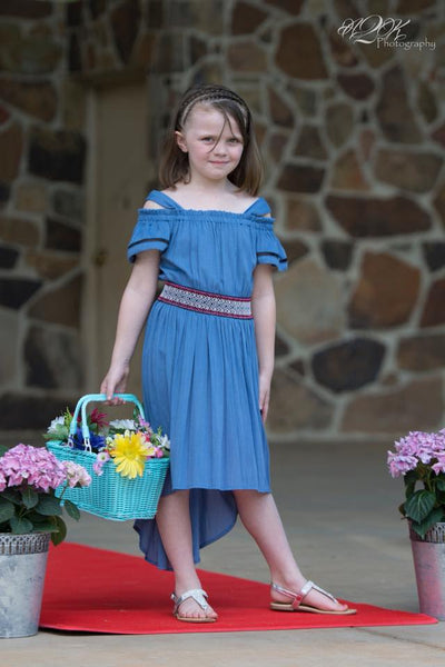 Spring Adorable Bonnie Jean Light Navy High Open Shoulder High Low Dress - JEN'S KIDS BOUTIQUE