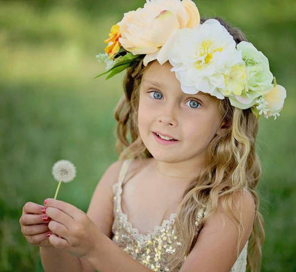 2018 Spring Deluxe Floral Headpiece Peach - JEN'S KIDS BOUTIQUE