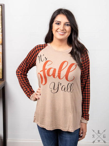 Fall It's Fall Y'all Beige Longsleeve with Fall Gingham Sleeves - JEN'S KIDS BOUTIQUE