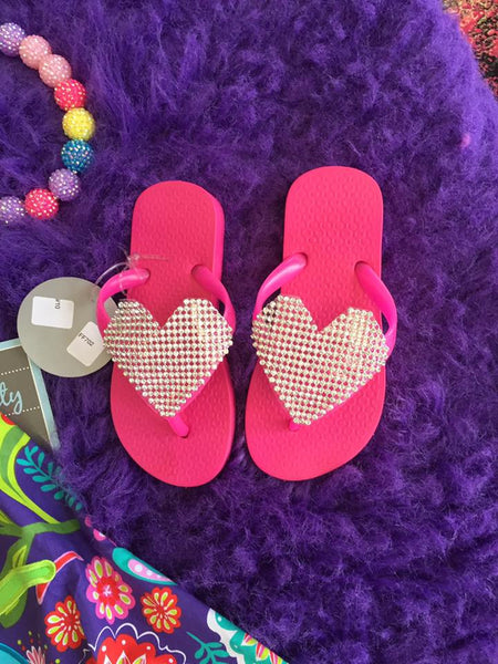566591daa688c1 Planet Sea Hot Pink Crystal Heart Flip Flops - JEN S KIDS BOUTIQUE