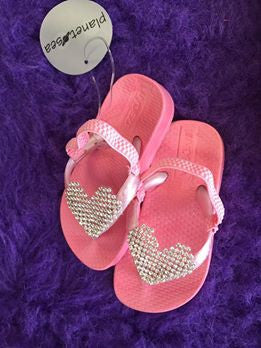Planet Sea Infant Pink Heart Flip Flops with Straps - JEN'S KIDS BOUTIQUE