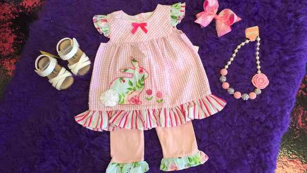 Bonnie Jean Easter Pink Gingham Bunny  Set - JEN'S KIDS BOUTIQUE