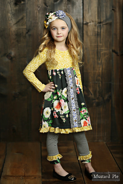 Fall Mustard Pie Blue English Picnic Dress C - JEN'S KIDS BOUTIQUE