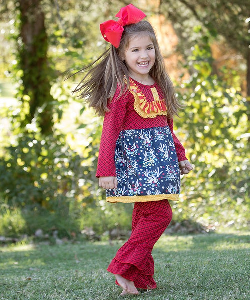 Fall Mixed Colorful Antlers Ruffle Pant Set - JEN'S KIDS BOUTIQUE