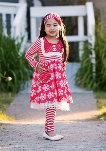 2018 Serendipity Christmas Winter Wonderland Bib Pocket Dress W/Legging - JEN'S KIDS BOUTIQUE