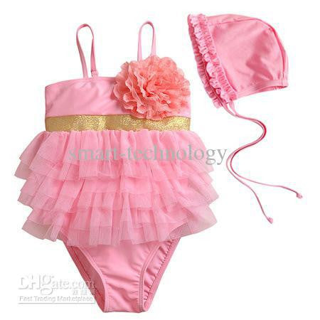 Princess One Piece Pink/Gold Swimsuit W/Swim Cap - JEN'S KIDS BOUTIQUE