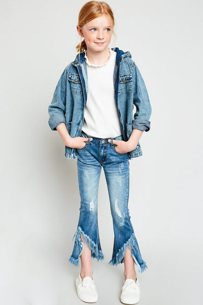 2018 Fall Hayden Girls Frayed Distressed Denim Flare Jeans - JEN'S KIDS BOUTIQUE